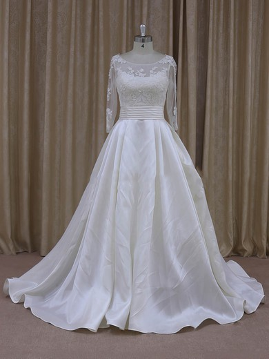 Princess Ivory Long Sleeve Tulle Taffeta with Appliques Lace Scoop Neck Prom Dress #PWD00021781