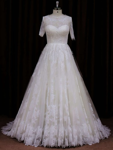 Ivory Short Sleeve Court Train Lace Sequins Scoop Neck Wedding Dress #PWD00021782