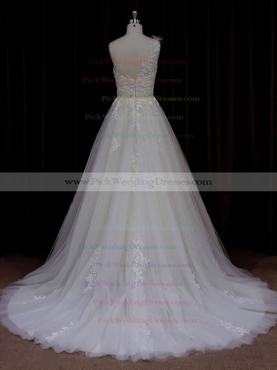 Modern A-line One Shoulder Tulle Appliques Lace Ivory Wedding Dress #PWD00021784