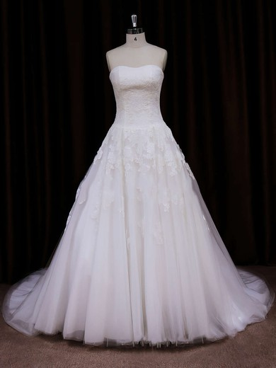 Ivory Tulle Ball Gown Lace-up Appliques Lace Chapel Train Wedding Dress #PWD00021785