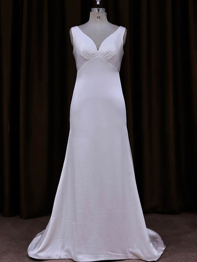 V-neck White Tulle Silk-like Satin Sequins Sheath/Column Wedding Dress #PWD00021787