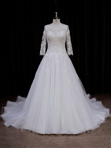 Chapel Train Ivory Tulle Appliques Lace 3/4 Sleeve Scoop Neck Wedding Dress #PWD00021788