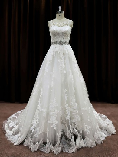 Pretty Scoop Neck Lace Beading Chapel Train Ivory Wedding Dress #PWD00021791