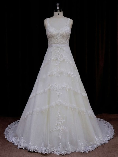 Sweetheart Ivory Tulle Appliques Lace Court Train Unique Wedding Dress #PWD00021796