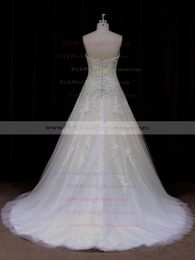 Beautiful Princess Sweetheart Sashes / Ribbons Ivory Tulle Wedding Dress #PWD00021797