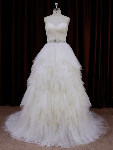 Elegant Sweetheart Tiered Ivory Tulle Court Train Wedding Dress #PWD00021799