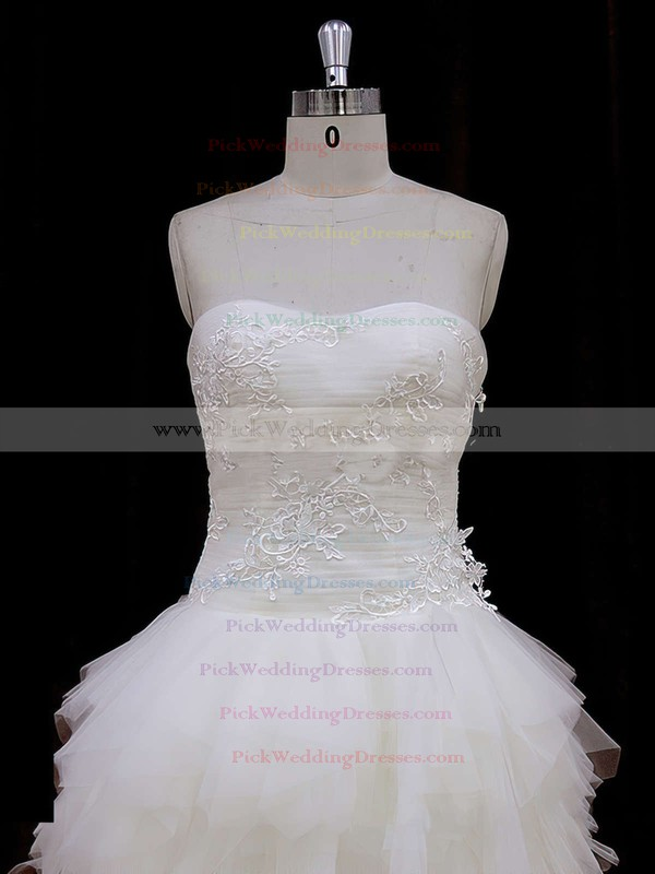 Asymmetrical Ivory Tulle Appliques Lace High Low Strapless Wedding Dress #PWD00021802