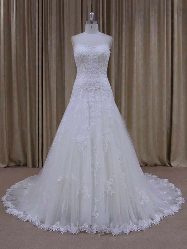 Unique Sweetheart Ivory Tulle Appliques Lace Court Train Wedding Dress #PWD00021803