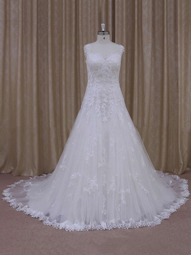 Ivory Court Train Tulle with Appliques Lace Modest Sweetheart Wedding Dress #PWD00021805