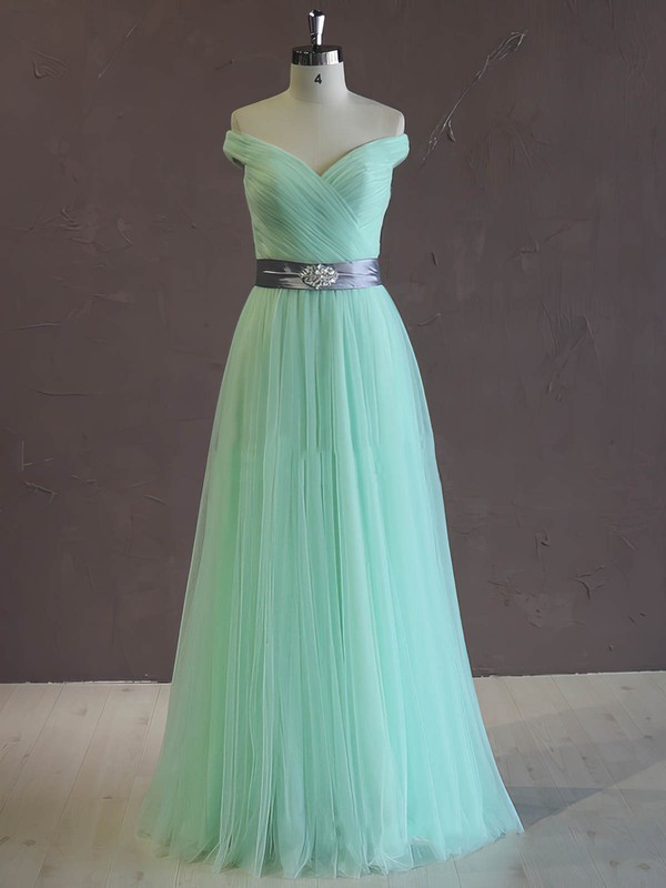 Unique A-line Green Tulle Sashes/Ribbons Off-the-shoulder Wedding Dress #PWD00021806