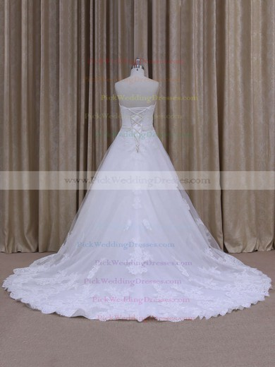Discount Chapel Train White Tulle Appliques Lace Strapless Wedding Dress #PWD00021808