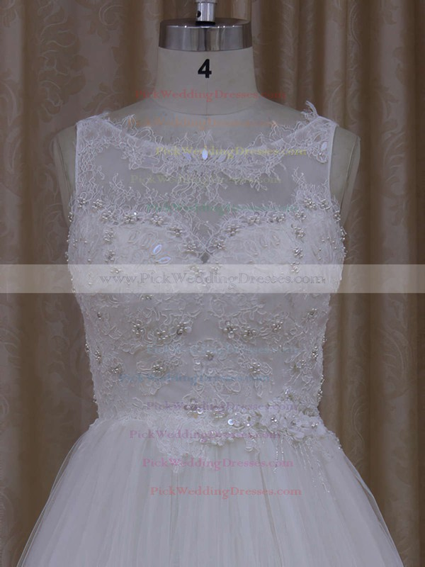 Princess Ivory Tulle Scoop Neck Appliques Lace Pretty Wedding Dress #PWD00021812