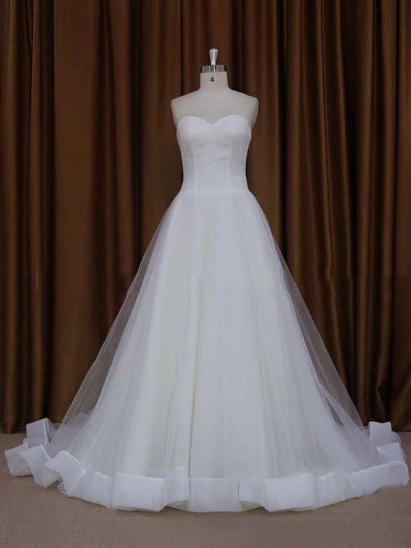 Ball Gown Ivory Tulle Appliques Lace Chapel Train Wedding Dress #PWD00021813
