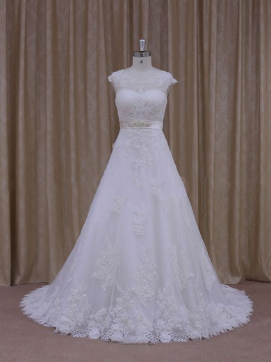 White Scoop Neck Tulle Appliques Lace Affordable Chapel Train Wedding Dress #PWD00021814