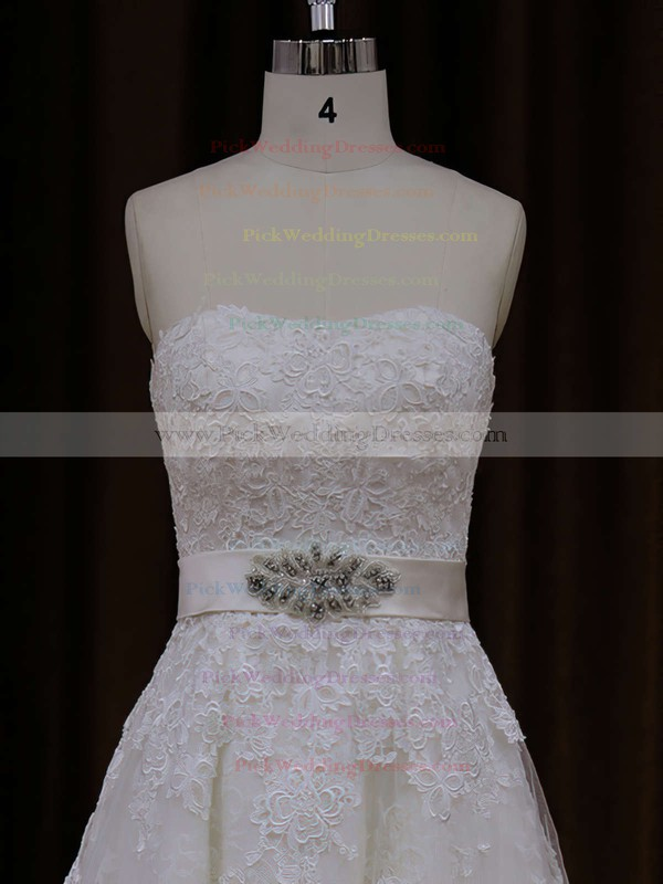 Court Train Ivory Beautiful Tulle Appliques Lace A-line Wedding Dress #PWD00021815