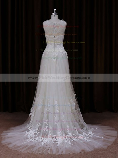 Cheap Scoop Neck Ivory Tulle Appliques Lace Court Train Wedding Dress #PWD00021819