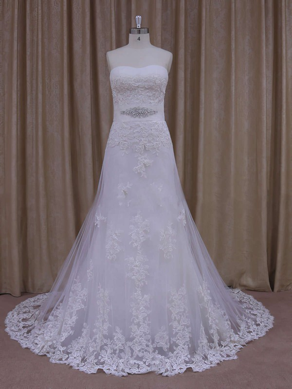 Sweep Train Appliques Lace Strapless White Tulle Affordable Wedding Dresses #PWD00021822