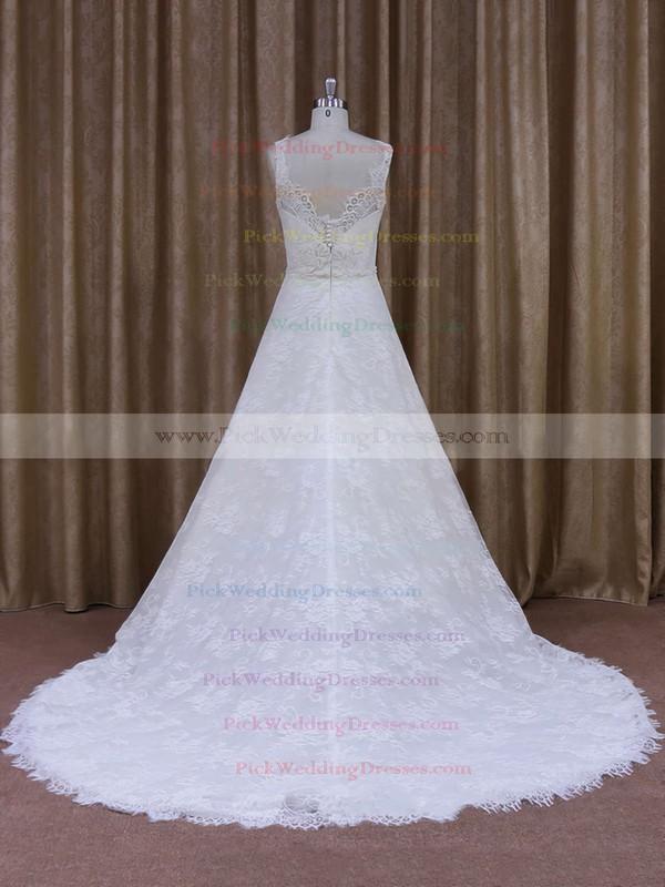 Best Scoop Neck Appliques Lace Court Train White Lace Wedding Dress #PWD00021828