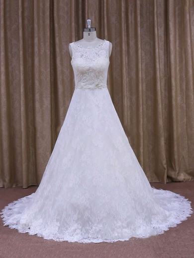 Best Scoop Neck Appliques Lace Court Train White Lace Wedding Dress #PWD00021828