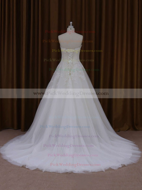 Sweetheart Appliques Lace Ivory Tulle Court Train Fashion Wedding Dresses #PWD00021829