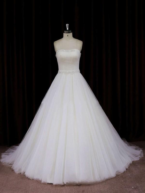 Ivory Tulle Chapel Train Beading Strapless Beautiful Wedding Dress #PWD00021833