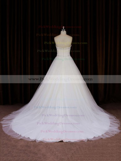Ivory Tulle Chapel Train Beading Strapless Beautiful Wedding Dress #PWD00021833