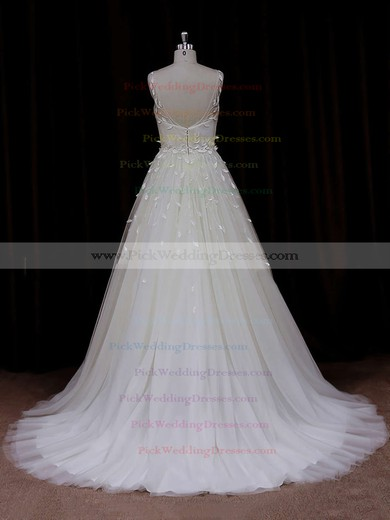 Elegant Princess Appliques Lace Ivory Tulle Scoop Neck Wedding Dresses #PWD00021834