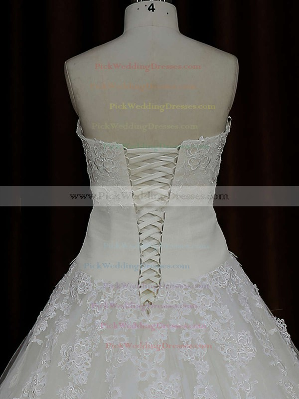 Ball Gown Ivory Tulle Lace-up Court Train Appliques Lace Wedding Dress #PWD00021835