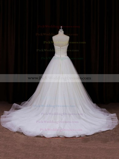 Modest Sweetheart Tulle with Sashes/Ribbons Chapel Train Ivory Wedding Dresses #PWD00021840