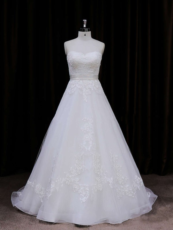 Princess Appliques Lace Sweetheart Ivory Organza Wedding Dresses #PWD00021848