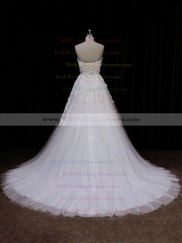 Ivory Tulle Appliques Lace Sweetheart Lace-up Elegant Wedding Dress #PWD00021849
