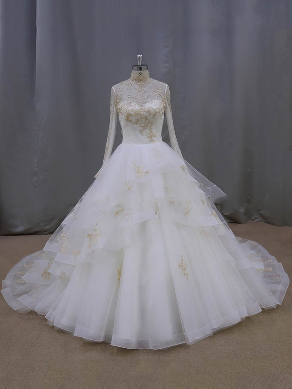 Ball Gown Tulle Appliques Lace Fashion High Neck Long Sleeve Wedding Dresses #PWD00021852