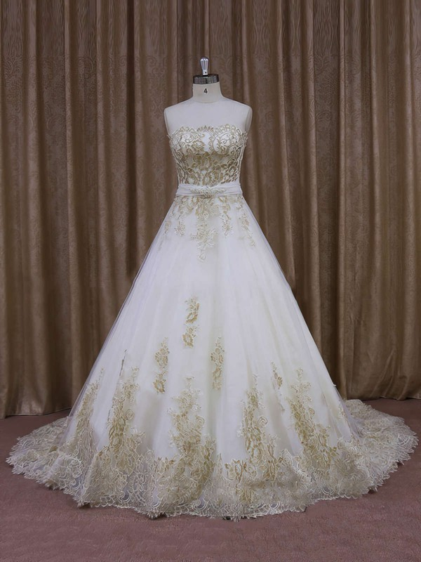 Court Train Tulle Appliques Lace Ivory Strapless Newest Wedding Dresses #PWD00021854