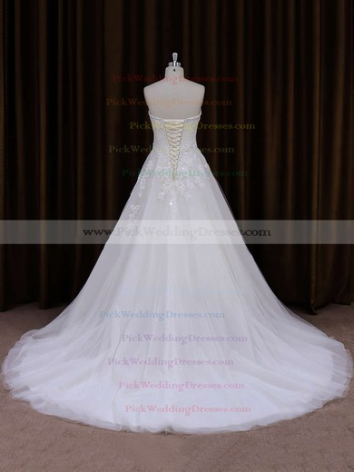 Sweetheart Tulle with Appliques Lace Popular Ivory Court Train Wedding Dress #PWD00021855