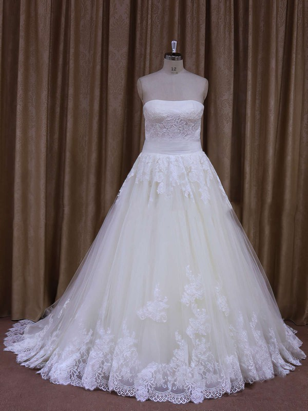 Boutique Strapless Tulle Lace-up with Appliques Lace Ivory Wedding Dresses #PWD00021856