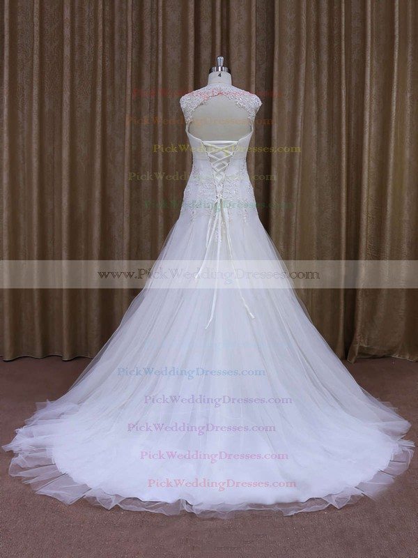 White Tulle Sweetheart Appliques Lace Court Train Popular Wedding Dress #PWD00021857
