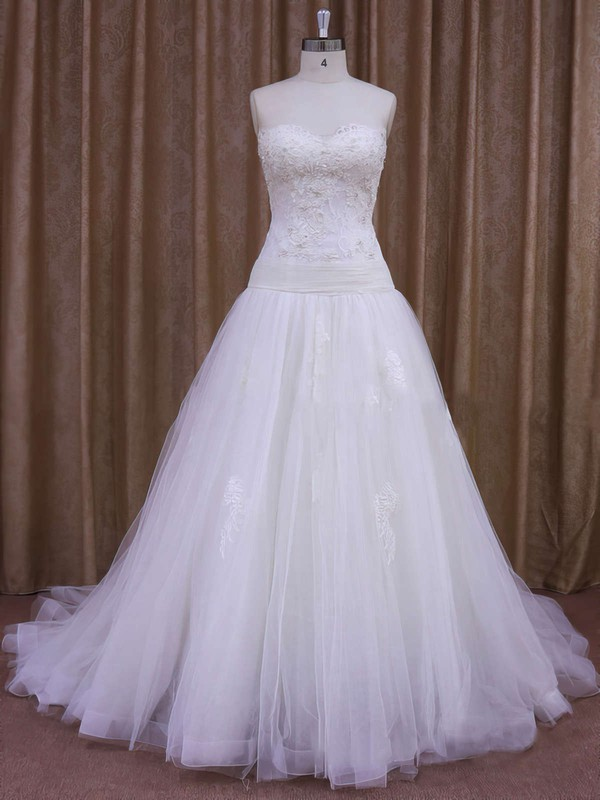 A-line Appliques Lace Ivory Tulle Court Train Online Wedding Dresses #PWD00021859