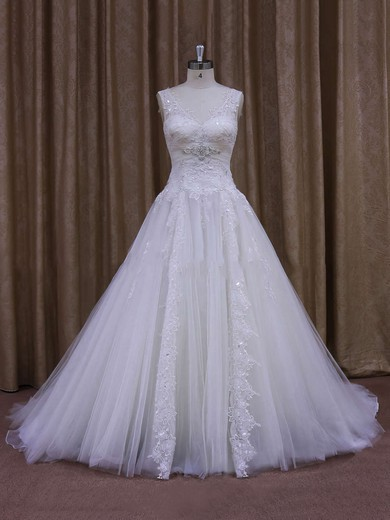 Fashionable Chapel Train Appliques Lace White Tulle V-neck Wedding Dress #PWD00021860
