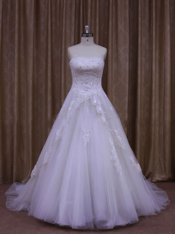 New Strapless Appliques Lace White Tulle A-line Wedding Dresses #PWD00021864