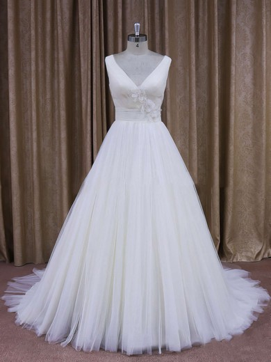 Affordable Court Train Tulle with Flower(s) Ivory V-neck Wedding Dresses #PWD00021868