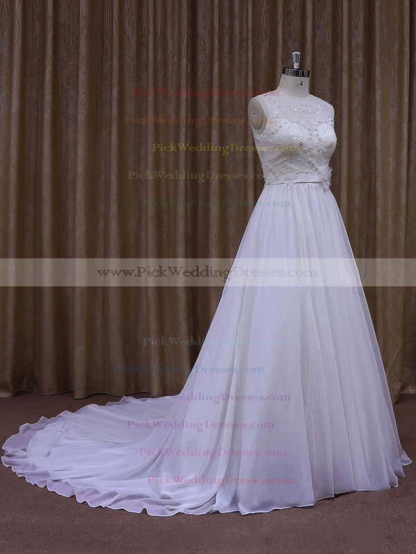 White Chapel Train Chiffon with Sashes/Ribbons Scoop Neck Wedding Dresses #PWD00021871