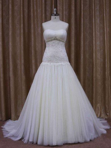 Inexpensive Ivory Court Train Tulle Appliques Lace Sweetheart Wedding Dresses #PWD00021873