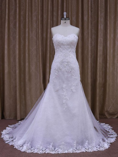 White Sweetheart Tulle with Appliques Lace Trumpet/Mermaid Wedding Dresses #PWD00021874
