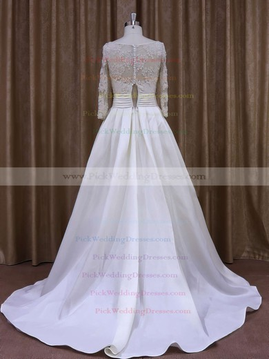 Nice Scoop Neck Ivory Taffeta with Appliques Lace Long Sleeve Wedding Dress #PWD00021877