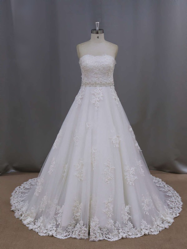 Ivory Court Train Tulle Appliques Lace Wholesale Sweetheart Wedding Dresses #PWD00021886