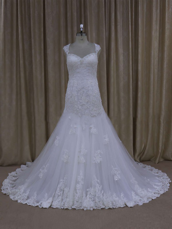Sweetheart White Lace Tulle Appliques Open Back Trumpet/Mermaid Wedding Dresses #PWD00021895