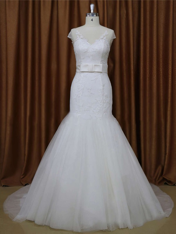 White V-neck Tulle Appliques Lace Cap Straps Trumpet/Mermaid Wedding Dresses #PWD00021899