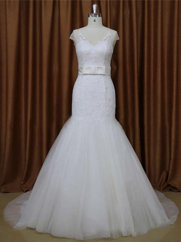 White V-neck Tulle Appliques Lace Cap Straps Trumpet/Mermaid Wedding Dresses #PWD00021899