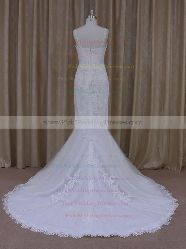Ivory V-neck Tulle with Appliques Lace Trumpet/Mermaid Popular Wedding Dresses #PWD00021912