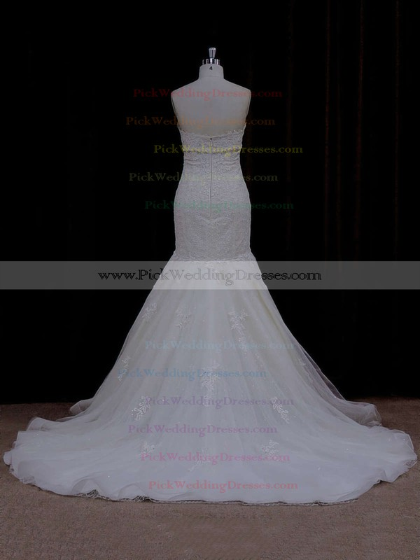 Vintage Ivory Lace Tulle with Beading Sweetheart Trumpet/Mermaid Wedding Dress #PWD00021915